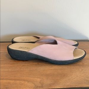 ARCHE Leather Mauve Slide Sandals Mauve